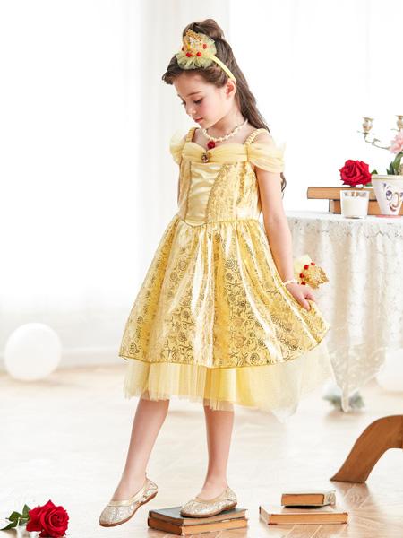 迪士尼美女与野兽贝儿角色还原公主裙卡通表演童装
