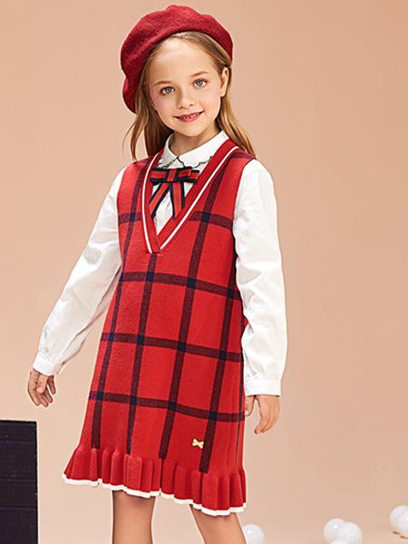 红蜻蜓KIDS童装品牌2019秋季衬衣挽领 假两件连衣裙