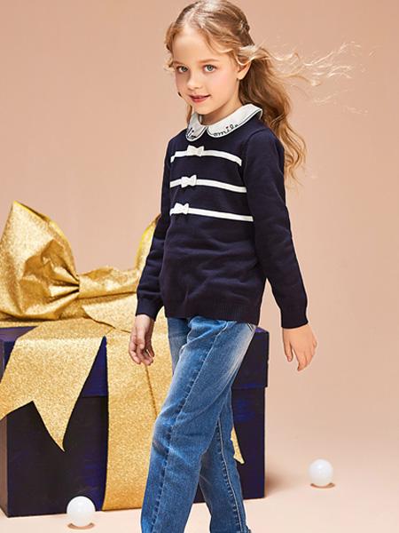 红蜻蜓KIDS童装品牌2019秋季黑色条纹拼接打底T打底衫