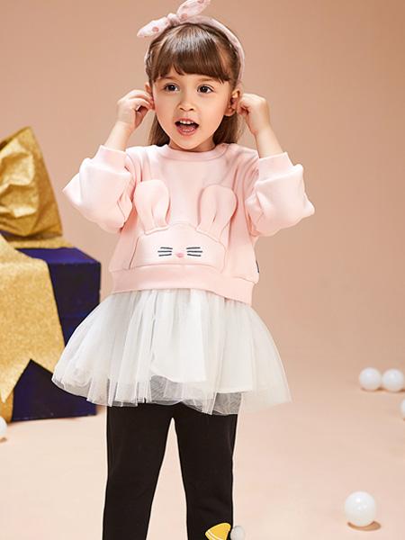 红蜻蜓KIDS童装品牌2019秋季韩版女童纯棉长袖甜美可爱3D兔子上衣拼接淑女网纱公主