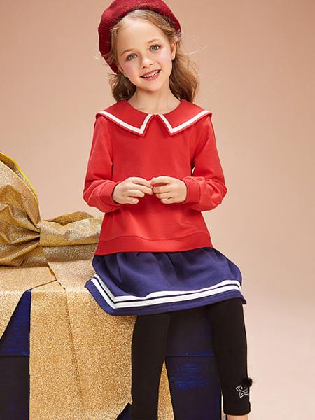红蜻蜓KIDS童装品牌2019秋季大V娃娃领冰丝针织衫短打底套头毛衣