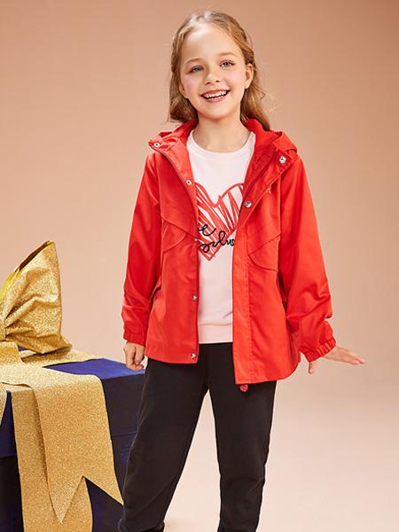 红蜻蜓KIDS童装品牌2019秋季红色皮夹克外衣