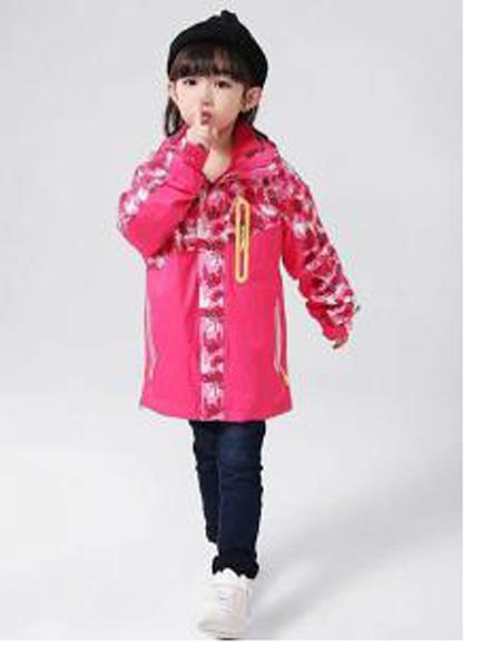 皮咖丘童装品牌2019秋冬红色印花棉衣