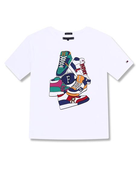 Tommy Hilfiger童装品牌2019春夏白底印花大男童短袖T恤