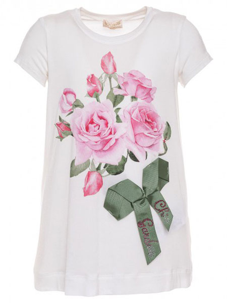 Monnalisa童装品牌2019春夏女童玫瑰绿色丝带叶子白色短袖T恤