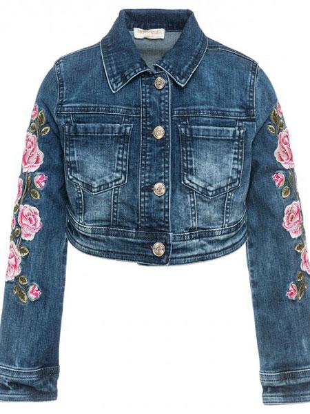 Monnalisa童装品牌2019春夏女童牛仔夹克 翻领长袖 蓝色