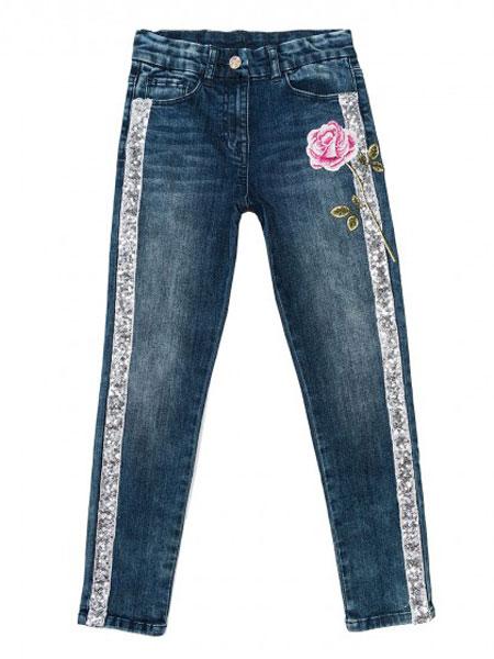 Monnalisa童装品牌2019春夏女童牛仔长裤 蓝色