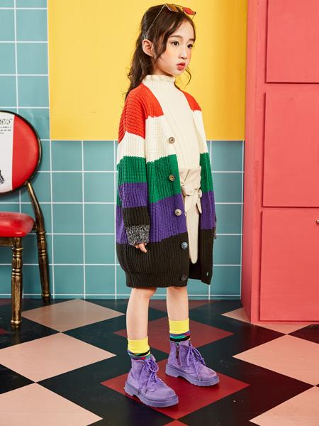 小资范童装品牌2019秋冬新款条纹撞色毛针织开衫韩版宽松口袋毛衣外套