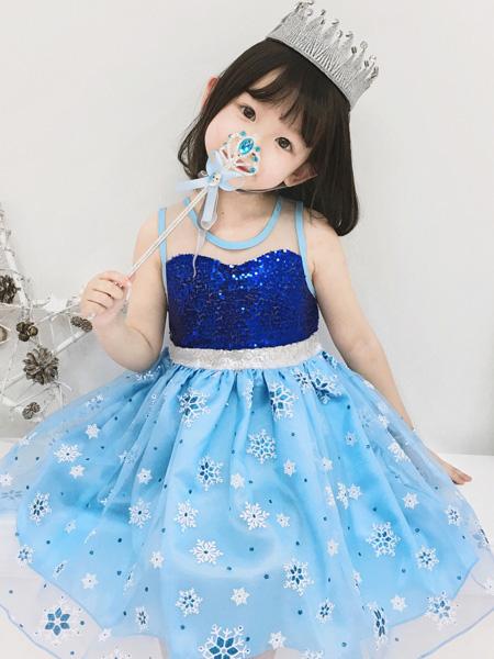 莎娜服饰童装品牌2019春夏冰雪奇缘公主裙2无袖网纱女童亮片连衣裙