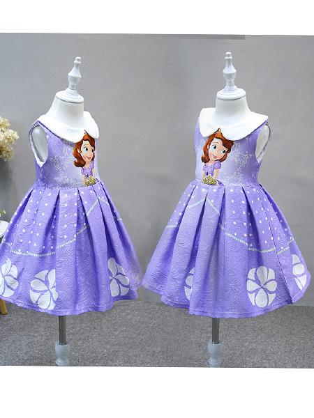 莎娜服饰童装品牌2019春夏索菲亚公主裙201夏欧美女童蓬蓬裙可爱紫色裙