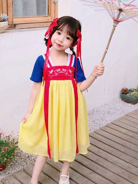 莎娜服饰童装品牌2019春夏白雪公主可爱女童民族裙改良汉服连衣裙一件