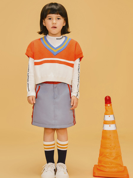 LROLIO童装品牌2019秋冬马甲式拼色上衣