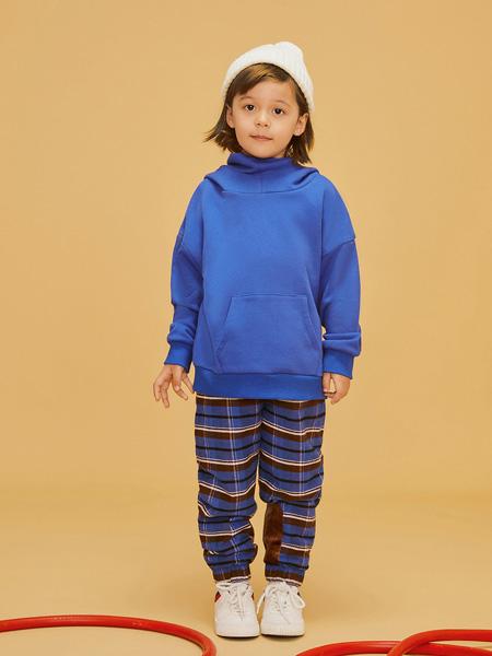 LROLIO童装品牌2019秋冬蓝色长袖外套卫衣