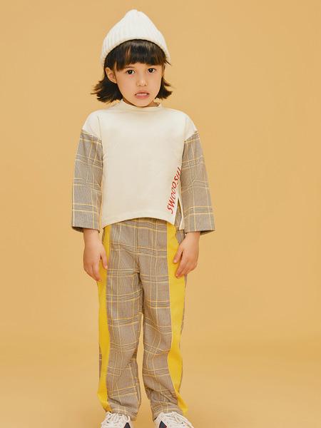 LROLIO童装品牌2019秋冬白色拼格子套装