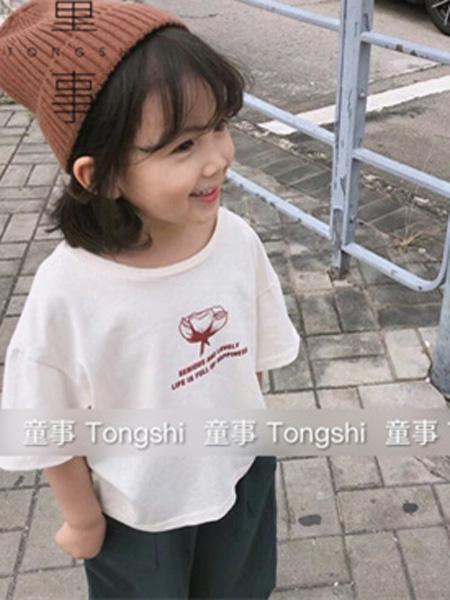 童事童装品牌2019春夏宽松白色T恤