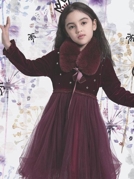 水孩儿souhait童装品牌2019秋冬加绒儿童洋气蓬蓬公主裙