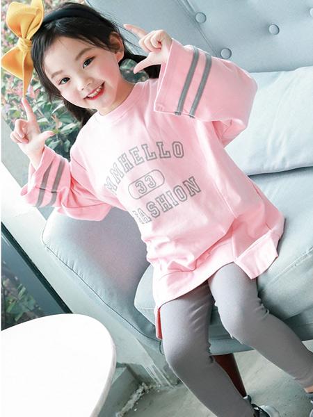 快乐精灵童装品牌2019秋冬新款圆领T恤打底裤韩版休闲两件套装