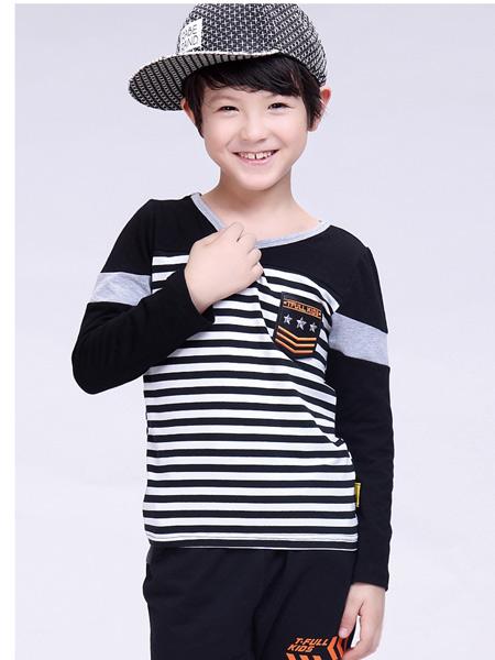 快乐精灵童装品牌2019秋冬新款纯棉韩版休闲简约T恤