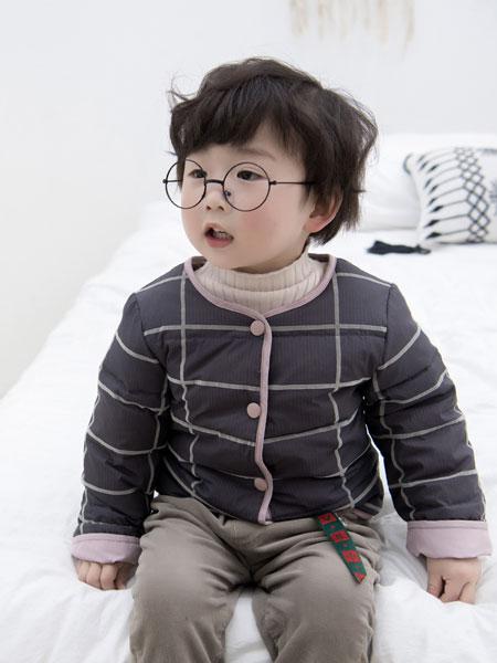波波龙童装品牌2019秋冬洋气格子衬衣长袖立领T恤