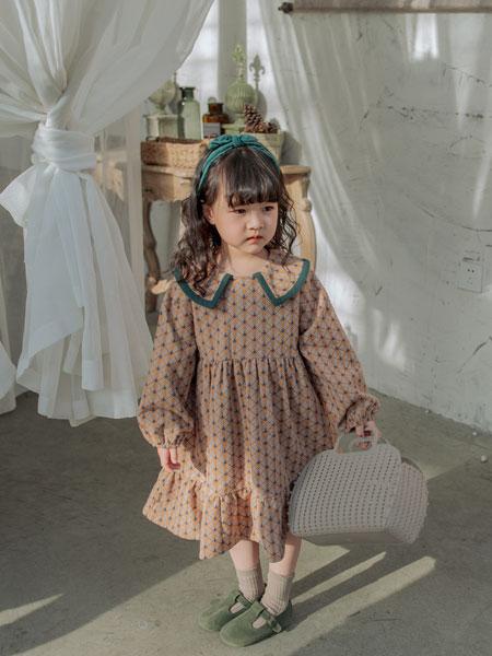 波波龙童装品牌2019秋冬韩版公主棉麻长袖荷叶领裙衫