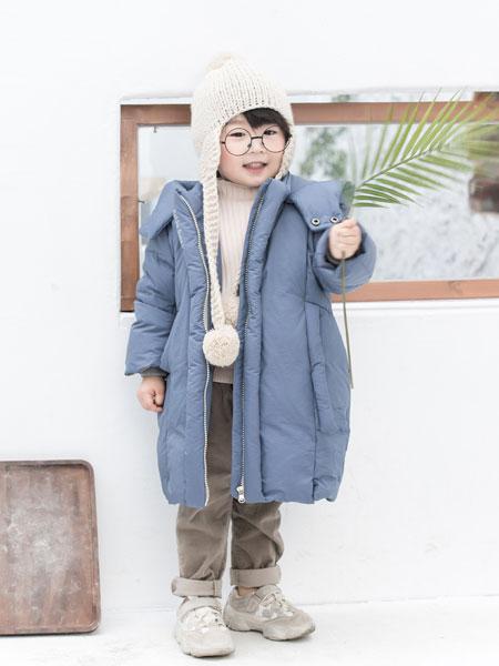 波波龙童装品牌2019秋冬简约通勤宽松中长款连帽羽绒服