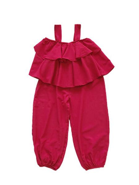 麋鹿童装童装品牌2019春夏新款吊带灯笼裤薄款韩版两件套