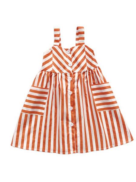 麋鹿童装童装品牌2019春夏新款洋气吊带裙条纹裙连衣裙
