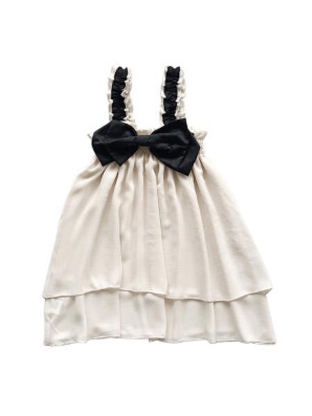 麋鹿童装童装品牌2019春夏新款雪纺吊带纱裙蝴蝶结公主连衣裙