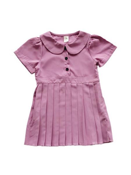 麋鹿童装童装品牌2019春夏新款韩版娃娃领百褶连衣裙
