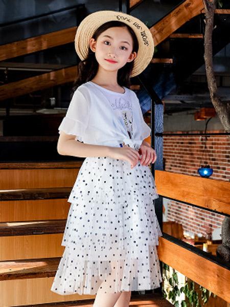 昇铭童装品牌2019春夏新款简约潮流纯色披肩波点网纱裙时尚个性套装