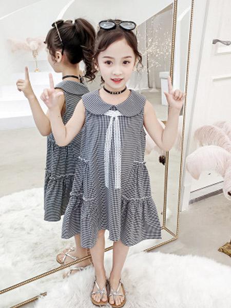 昇铭童装品牌2019春夏新款韩版超洋气公主裙格子连衣裙
