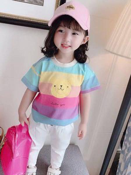 昇铭童装品牌2019春夏新款韩版洋气短袖t恤