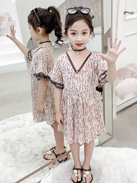昇铭童装品牌2019春夏新款超洋气雪纺连衣裙