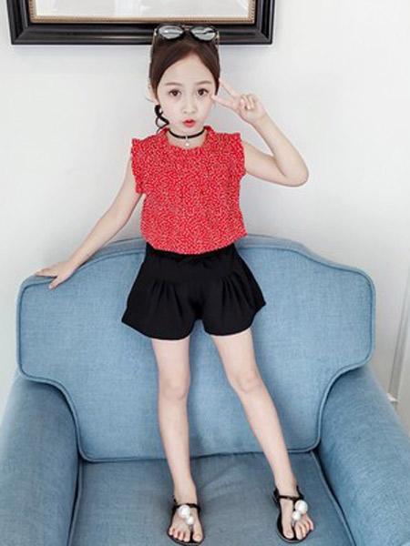 昇铭童装品牌2019春夏新款韩版圆点短裤套装