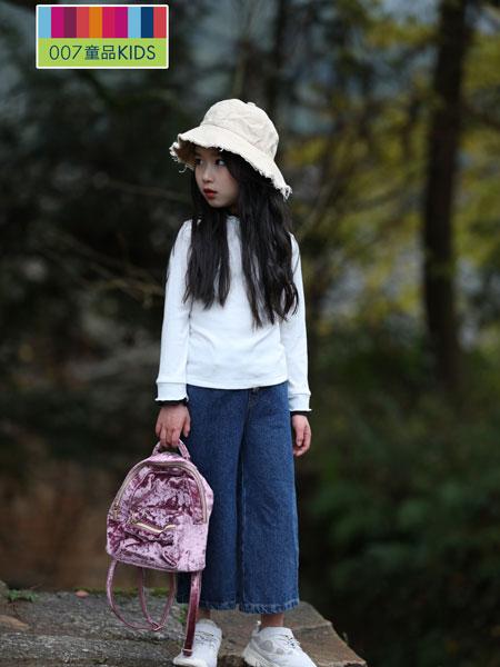 007童品童装品牌2019秋冬韩版木耳边V领T恤字母印花卫衣上衣
