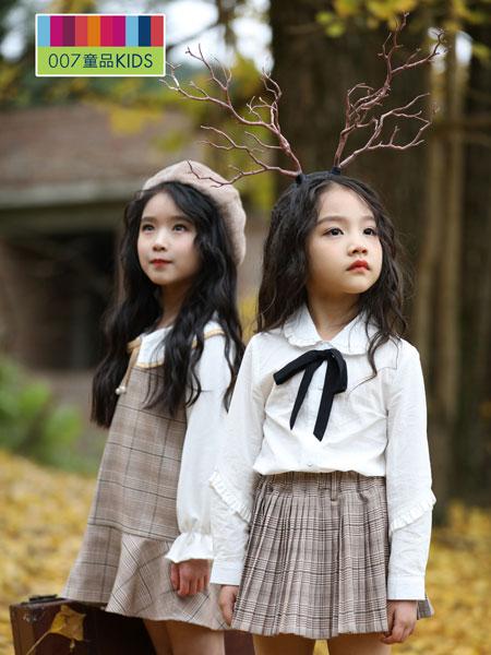007童品童装品牌2019秋冬格纹翻领长袖西装外套+蝴蝶结衬衫