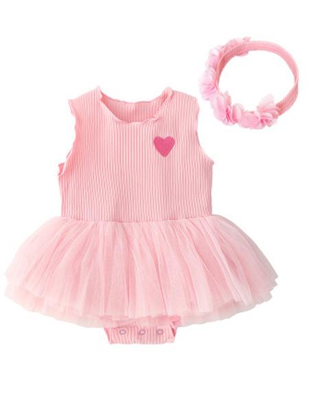 安佰鹿童装品牌2019春夏新款连体衣短袖新生儿背心裙套装