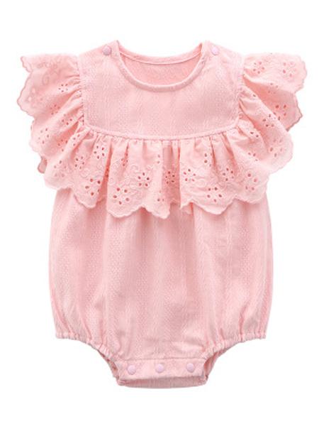安佰鹿童装品牌2019春夏新款短袖哈衣新生儿连体衣婴儿梭织爬服