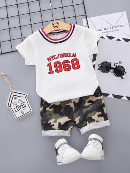 达克鸭童装品牌2019春夏新款韩版可爱迷彩数字纯棉套装两件套