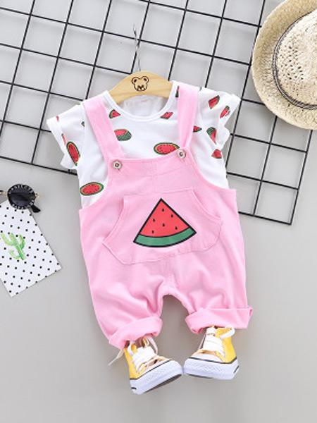 达克鸭童装品牌2019春夏新款韩版短袖衬衫背带裤两件套