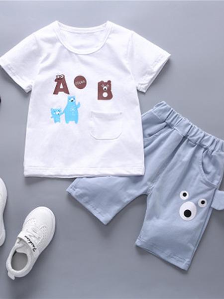 达克鸭童装品牌2019春夏新款韩版纯棉短袖短裤运动时尚套装