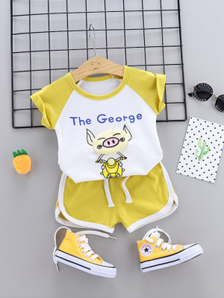 达克鸭童装品牌2019春夏新款韩版纯棉字母印花短袖套装