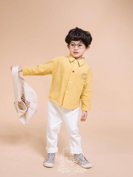 维尼叮当童装品牌2019秋季棉麻长袖衬衣纯色上衣