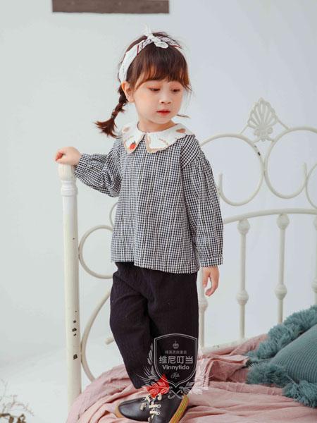维尼叮当童装品牌2019秋季新款儿童撞色格子衬衣娃娃领百搭可爱上衣