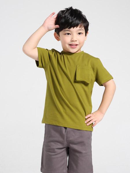 爪心爪背童装品牌2019春夏新款休闲纯色纯棉趣味印花图案短袖T恤