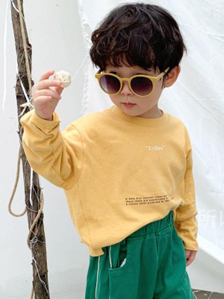 所以童装品牌2019秋季新款休闲黄色纯棉薄款字母印花套头长袖上衣
