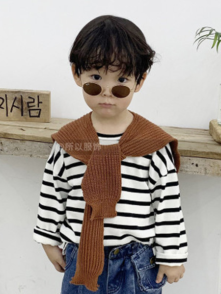 所以童装品牌2019秋季新款T恤纯棉长袖韩版条纹修身休闲黑白上衣圆领打底衫