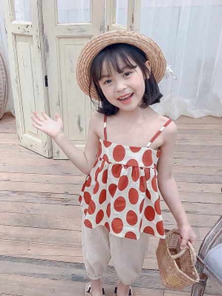 小小韩童品童装品牌2019春夏新款韩版波点吊带打底衫+时尚休闲裤两件套装潮