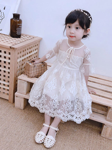 小小韩童品童装品牌2019春夏新款韩版洋气时髦连衣裙蕾丝裙公主裙