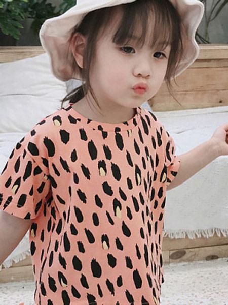 润途童装品牌2019春夏新款韩版可爱公主时尚潮流豹纹T恤